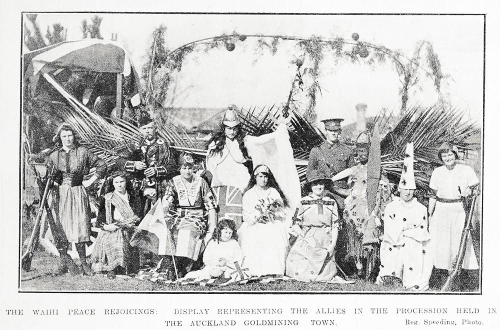The Waihi peace rejoicings. Display representing the Allies in the procession held in the Auckland goldmining town. - Auckland Libraries