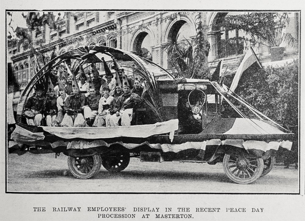 The railway employees' display in the recent peace day procession at Masterton. - Auckland Libraries