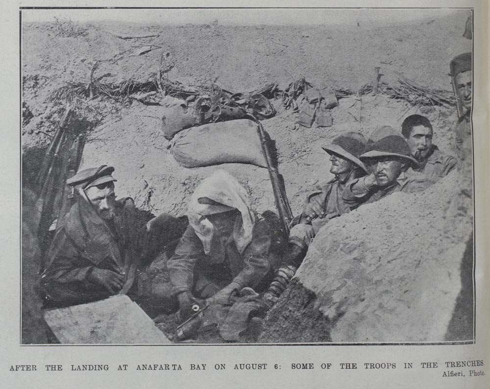 After landing at Anafarta Bay on August 6: Some of the troops in the trenches. - Auckland Libraries
