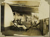Passengers on the SS Tofua playing deck golf; Milt...