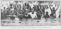 Merry Maoris and Niue Islanders:troops disport themselves in the waves at Narrow Neck beach