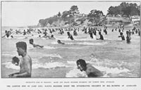 Recreative side of training: Maori and Island soldiers swimming off Narrow Neck, Auckland