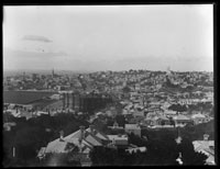 Looking east from Ponsonby over Auckland City to harbour,.....