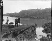 Man and horse at Hellyers Creek.